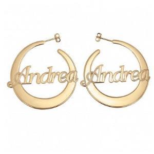 Ladies Flattened Hoop Earrings 40mm