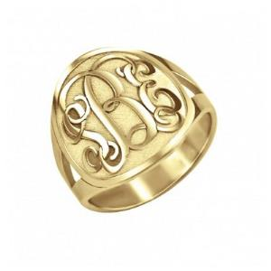 Traditional Recessed Monogram Ring 18mm