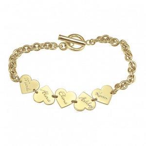 Family Dangle Heart Name Bracelet