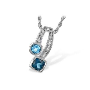 NECKLACE .91 TW BLUE TOPAZ 1.04 TGW