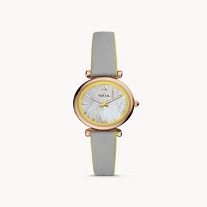 Carlie Mini Three-Hand Gray Leather Watch