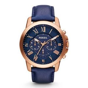 Grant Chronograph Leather Watch - Blue