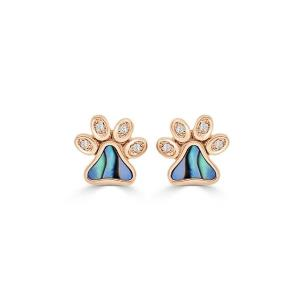 Abalone & Diamond Happy Paw Studs, 0.04 Ct