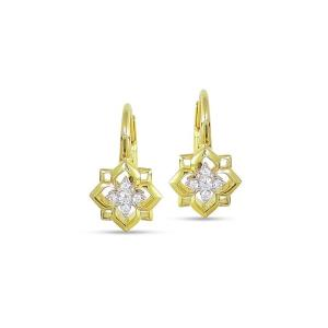 Diamond Rosette Drop Earrings, 0.14 Ct
