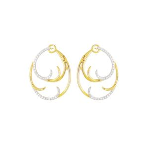 Half Diamond Double Wave Medium Hoops, 0.56 CT