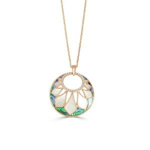 White Mother of Pearl, Abalone & Diamond Venus Sienna Double Shell Pendant with Chain, 0.22 Ct