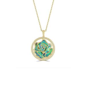 Large Venus Floral Abalone & Diamond Pendant With Chain, 0.52 Ct