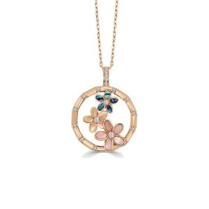 Medium Abalone & Pink Mother Pearl Plumerias Pendant With Chain, 0.26 Ct