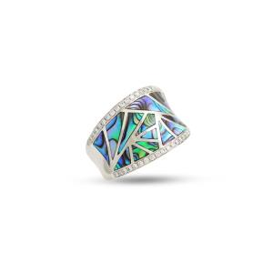 Abalone and Diamond Venus Geometric Medium Band, 0.29 CT