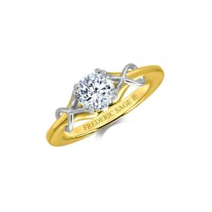 Solitaire semi-mount ring with polished criss-cross accent