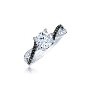 Total carats in engagement ring as pictured (not including center diamond) equal approximately .10 ct of white diamonds and 0.27 ct of black diamonds