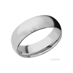 7 mm wide Domed 14K White Gold band.