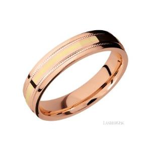 5 mm wide/Flat Stepped Edges Milgrain/14K Rose Gold band with one 1 mm Centered inlay of 14K Yellow Gold.