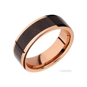 7 mm wide/Flat/14K Rose Gold band with one 5 mm Centered inlay of Wenge.