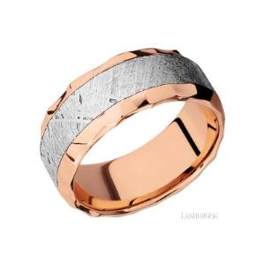 9 mm wide/Beveled/14K Rose Gold band with one 5 mm Centered inlay of Meteorite.