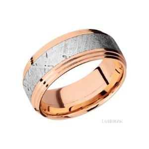 9 mm wide/Flat Double Stepped Edges/14K Rose Gold band with one 4 mm Centered inlay of Meteorite.