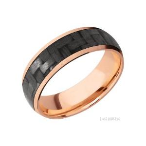 7 mm wide/Domed/14K Rose Gold band with one 5 mm Centered inlay of Carbon Fiber.