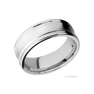 8 mm wide Concaved Center Round Edges 14K White Gold band.