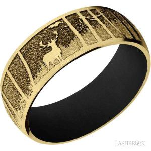 8 mm wide/Domed/14K Yellow Gold band with a laser carved Elk Mountain pattern also featuring a Black sleeve.