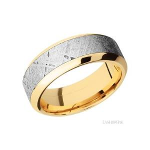8 mm wide/High Bevel/14K Yellow Gold band with one 5 mm Centered inlay of Meteorite.