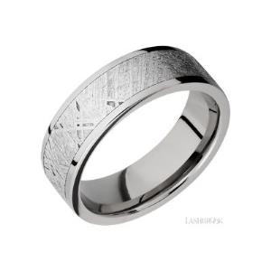 7 mm wide/Flat/Titanium band with one 5 mm Centered inlay of Meteorite.