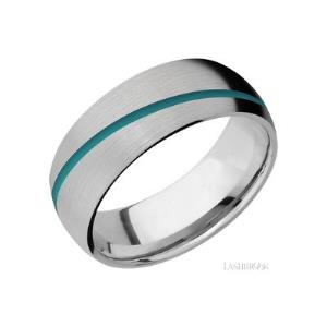 8 mm wide/Domed/Titanium band with one 1 mm Angled inlay of Teal.