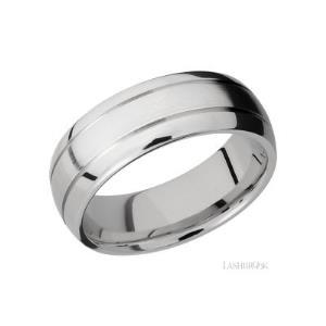 8 mm wide Domed with two accent grooves Titanium band.