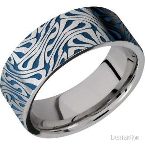 8 mm wide/Flat/Titanium band with a laser carved Escher 1 pattern.