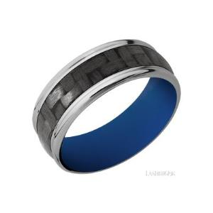 8 mm wide/Domed Rounded Edges/Titanium band with one 5 mm Centered inlay of Carbon Fiber also featuring a Royal Blue sleeve.