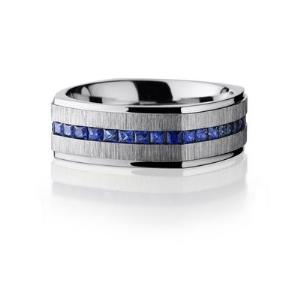 Cobalt Chrome 8mm Flat EuroSquare Band with Grooved Edges and Eternity Set Sapphires.