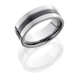 Tungsten and Ceramic 8mm Flat Band with Grooves.