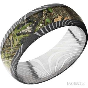 8 mm wide/Domed/Flattwist Damascus band with one 5 mm Centered inlay of MossyOak Obsession.