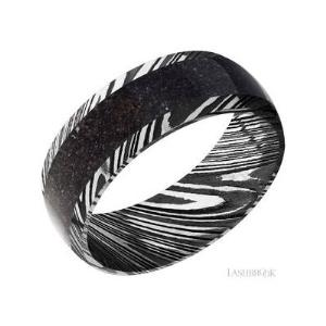 8 mm wide/Domed/Woodgrain Damascus band with one 5 mm Centered inlay of Dinosaur Bone Black.