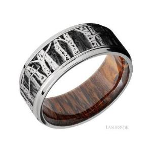 9 mm wide/Flat Grooved Edges/Cobalt Chrome band with a laser carved Aspen pattern also featuring a Leopard Wood sleeve.