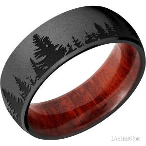 8 mm wide/Domed/Zirconium band with a laser carved Trees pattern also featuring a Red Heart sleeve.