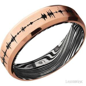 6 mm wide/Beveled/18K Rose Gold band with a laser carved Soundwave pattern also featuring a Marble sleeve.