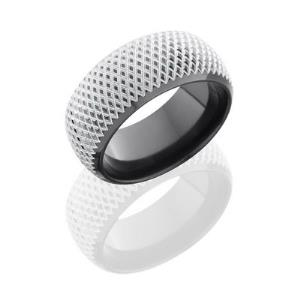 Zirconium 10mm Domed Band with Beveled Edges and Knurl Pattern.