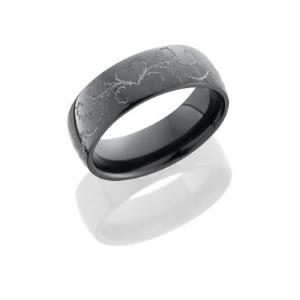Zirconium 7mm Domed Band with Laser Carved Thorn Heart Pattern.