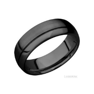7 mm wide Domed with Off Center Accent Groove Zirconium band.