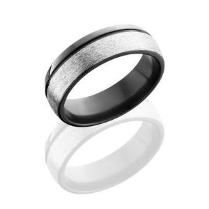 Zirconium 7mm Domed Band with .5mm Off-Center Groove.