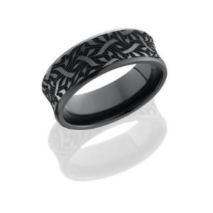 Zirconium 8mm Concave Band with Beveled Edges and Laser Carved Escher Pattern.