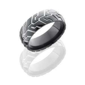 Zirconium 8mm Domed Band with Tire Tread Pattern.
