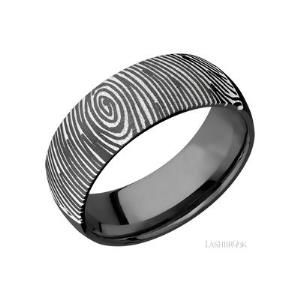 8 mm wide/Domed/Zirconium band with a laser carved Finger Print 2 pattern.