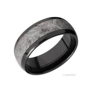 8 mm wide/Domed/Zirconium band with one 5 mm Centered inlay of Meteorite.