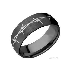 8 mm wide/Domed/Zirconium band with a machined Barb Wire pattern.