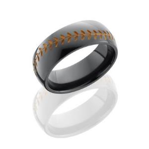 Zirconium 8mm Domed Band with Baseball Pattern.