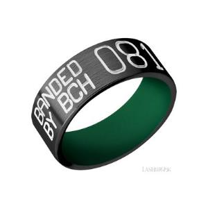 8 mm wide/Flat/Zirconium band with a machined Duck Band pattern also featuring a Green sleeve.