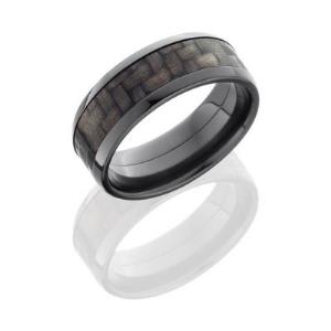 Zirconium 8mm Flat Band with Beveled Edges and 5mm Carbon Fiber inlay.