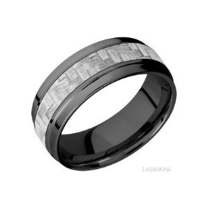 8 mm wide/Flat Wide Grooved Edges/Zirconium band with one 4 mm Centered inlay of Silver Carbon Fiber.