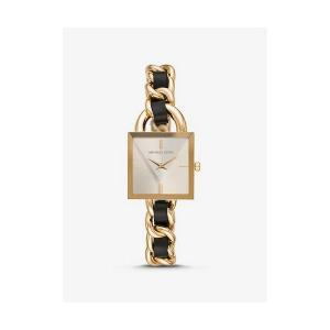 MK Chain Link Gold-Tone and Leather Watch